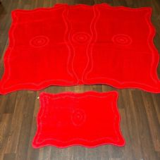 ROMANY GYPSY WASHABLES 4PC SET NON SLIP MATS  100x140CM TARGET DESIGN RED RUGS